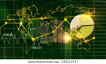 World Map Statistic Data Graph Dark Green Finance Background 3D - stock photo