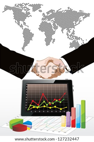 World map, tablet pc computer showing a spreadsheet with some 3d charts over it and handshake - stock photo