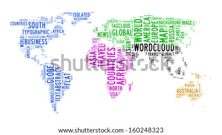 world map text cloud on isolated background - stock photo