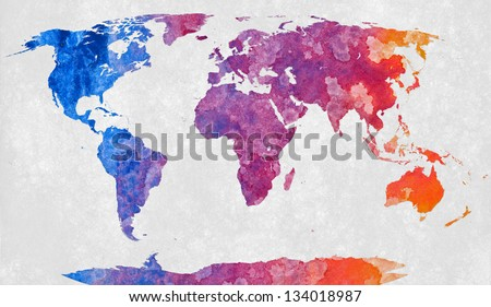 World map textured with a colorful abstract acrylic painting - stock photo
