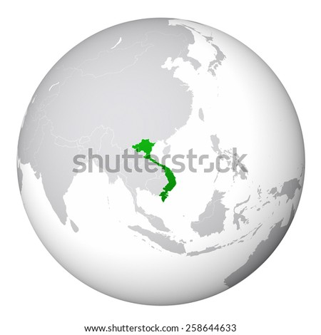 World Map - Vietnam - stock photo