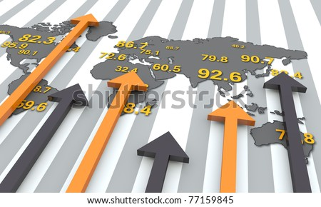 World map with arrows - stock photo