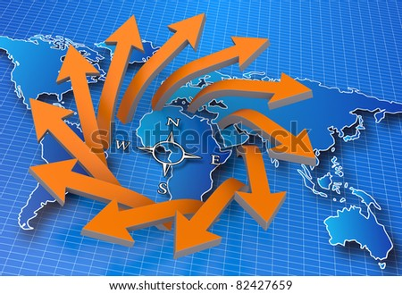 World map with business arrows - stock photo