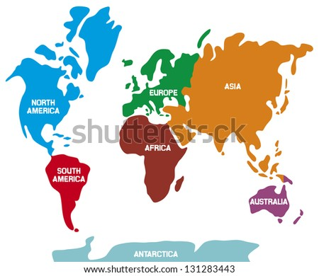 world map with continents (world map Illustration, world map showing the 7 continents) - stock photo