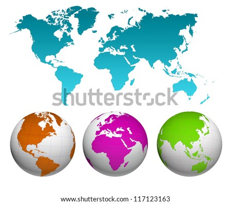 World map with earth globes - stock photo