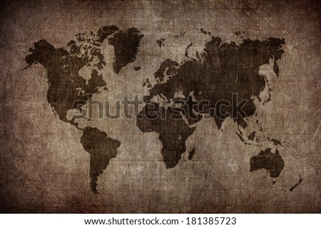world map with Latitude and Longitude lines in vintage style - stock photo
