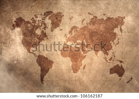 world map with Latitude and Longitude lines on vintage leather skin - stock photo