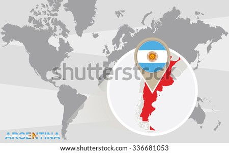 World map with magnified Argentina. Argentina flag and map. Rasterized Copy. - stock photo