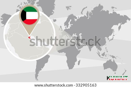 World map with magnified Kuwait. Kuwait flag and map. Rasterized Copy. - stock photo