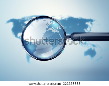 world map with magnifying glass - Conceptual image - stock photo