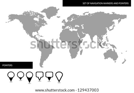 World map with set of blank location pointers and markers - stock photo