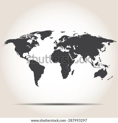 World map with shadow on gray background - stock photo
