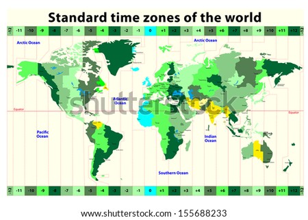 World Map with Standard Time Zones - stock photo