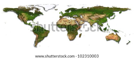 World map with topography. 3d image. The Earth texture of this image furnished by NASA. (http://visibleearth.nasa.gov/view_rec.php?id=2430) - stock photo
