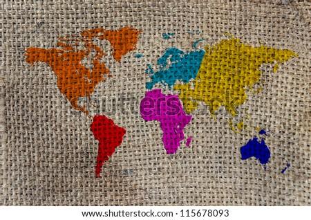 World Map, World background on Burlap - stock photo
