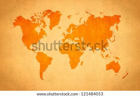 World Map, World background on grunge paper - stock photo