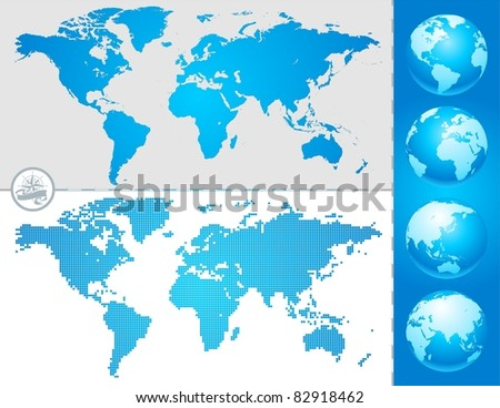 World maps and globe - stock photo