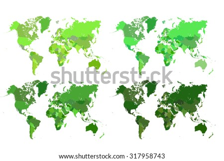 World maps in green - stock photo