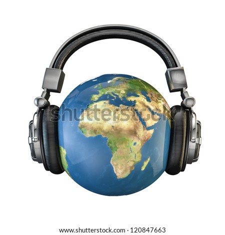 World music 3D render of planet Earth with headphones, Earth map texture source: cinema4dtutorial.net - stock photo