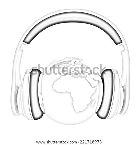 World music 3D render of planet Earth with headphones  on a white background. Pencil drawing - stock photo