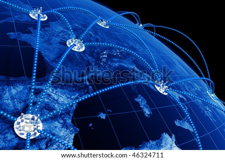 World network. Hi-res digitally generated image. - stock photo