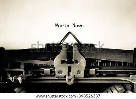 World News words typed on a vintage typewriter - stock photo