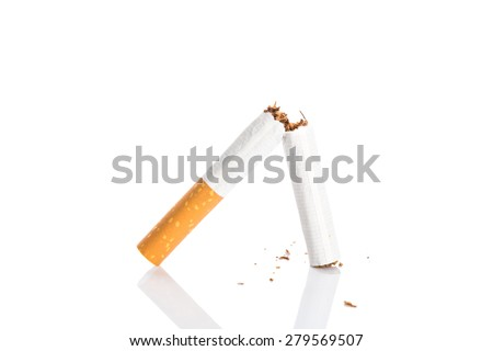 World No Tobacco Day : Broken cigarette isolated on white background - stock photo