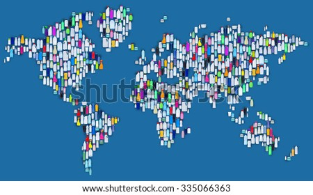 World of plastic - map made of plastic bottles, ecology and environmental concept - stock photo