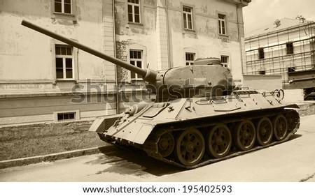 World of tanks - famous soviet medium tank T-34/85 - stock photo