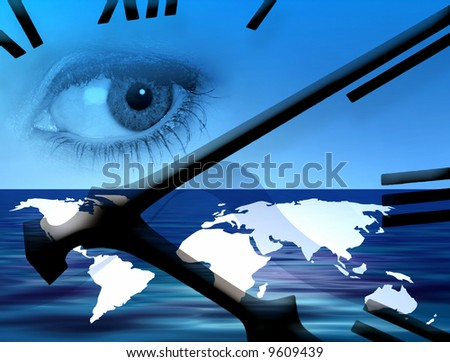 World outline map overlaid with clock face - stock photo