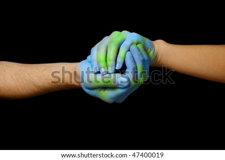 World painted hands - stock photo