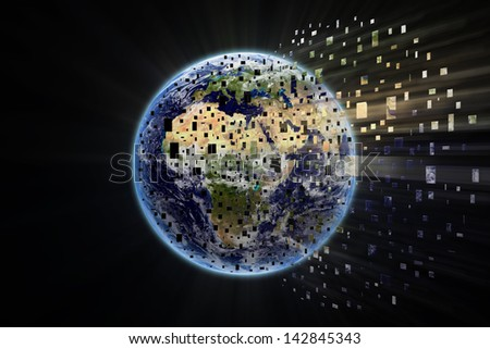 World particles - Earth Texture by NASA - stock photo