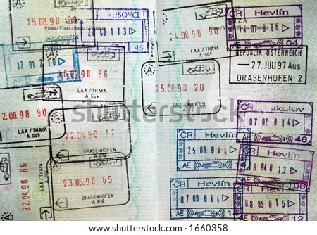 World passport visa stamps - stock photo