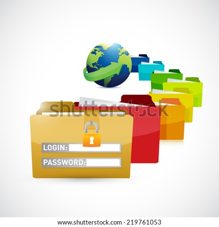 world protected files illustration design over a white background - stock photo