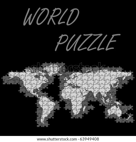 world puzzle map, abstract art illustration; for vector format please visit my gallery - stock photo