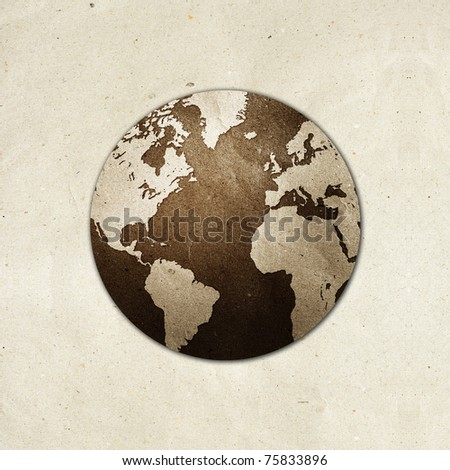world recycled paper craft  stick on white background . Data source: NASA - stock photo