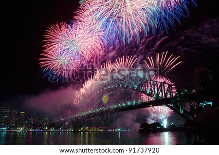 World Renown Sydney Harbour NYE Fireworks Display - stock photo