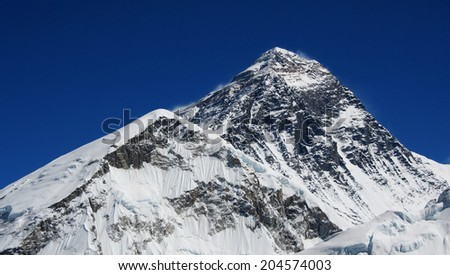 World's highest mountain, Mt Everest (8850m) in the Himalayas, Nepal. - stock photo