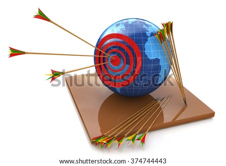 World target, red arrow in the bull's eye for the design of information related to the world and the objectives - stock photo