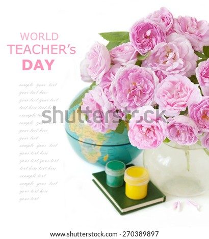 World teacher's day (still life with bunch of flowers and books isolated on white background with sample text) - stock photo