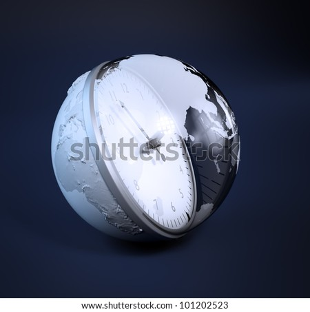 World time concept 3D illustration - stock photo