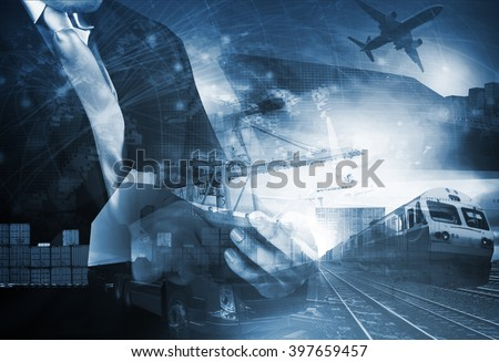 world trading with industries truck,trains,ship and air cargo freight logistic background use for all import export transportation theme - stock photo