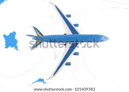 world travel airplanes Plane Over Map - stock photo