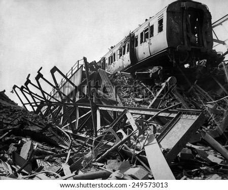 World War 2, Battle of Britain. Destroyed London railway station in Westminster Bridge Road, after London's biggest night raid of the war. April 16, 1941. - stock photo