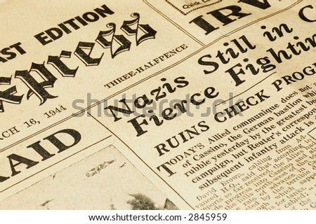 world war ii british newspaper dated march 16 1944 - stock photo