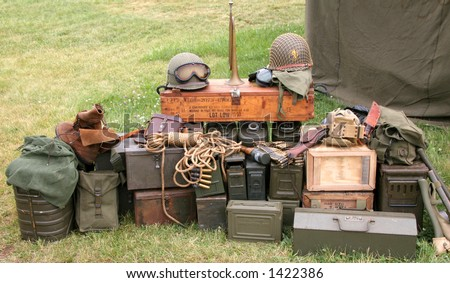 world war ii equipment laid out for display - stock photo