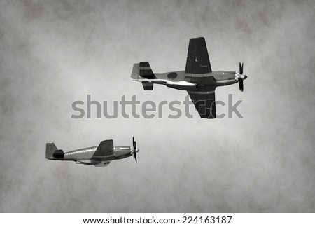 World War II era fighter planes on a mission - stock photo