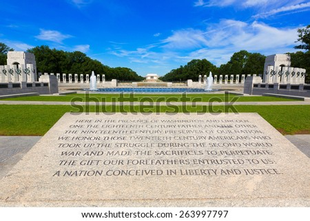World War II Memorial in washington DC USA at National Mall - stock photo