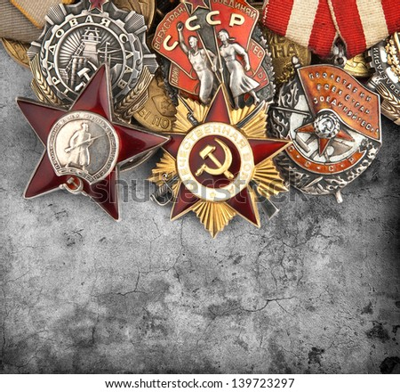 World War II Russian military medals - stock photo