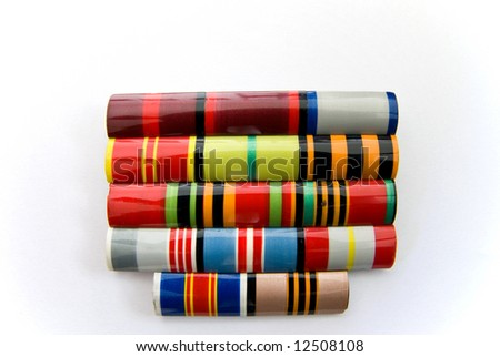 World War II Russian plastic award ribbons - stock photo